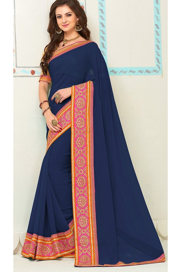 Party Wear Navy Blue Georgette Saree - 72261