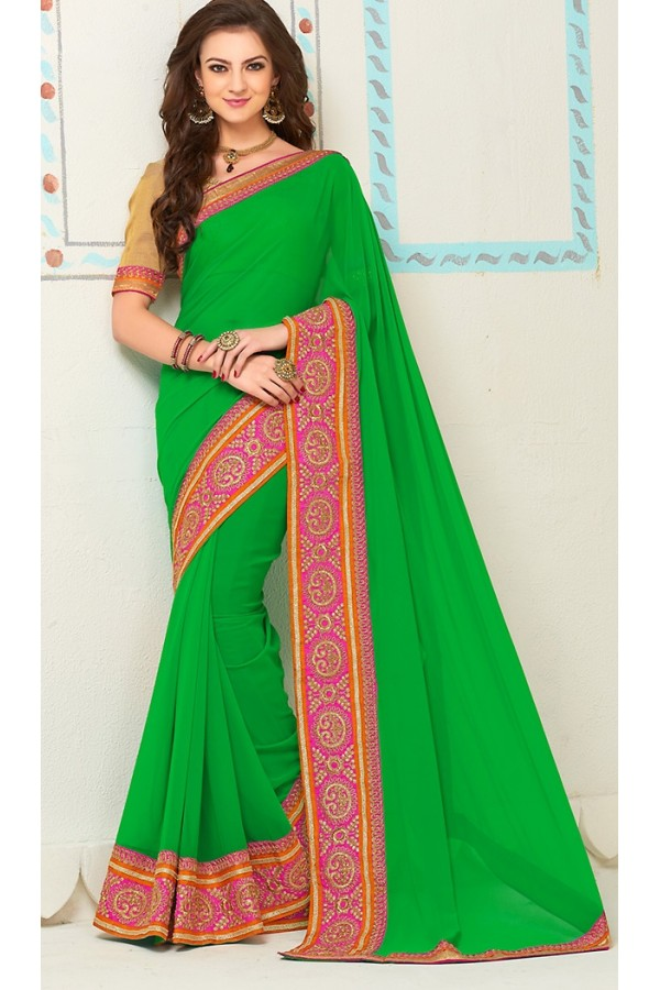 Party Wear Green Georgette Saree - 72262