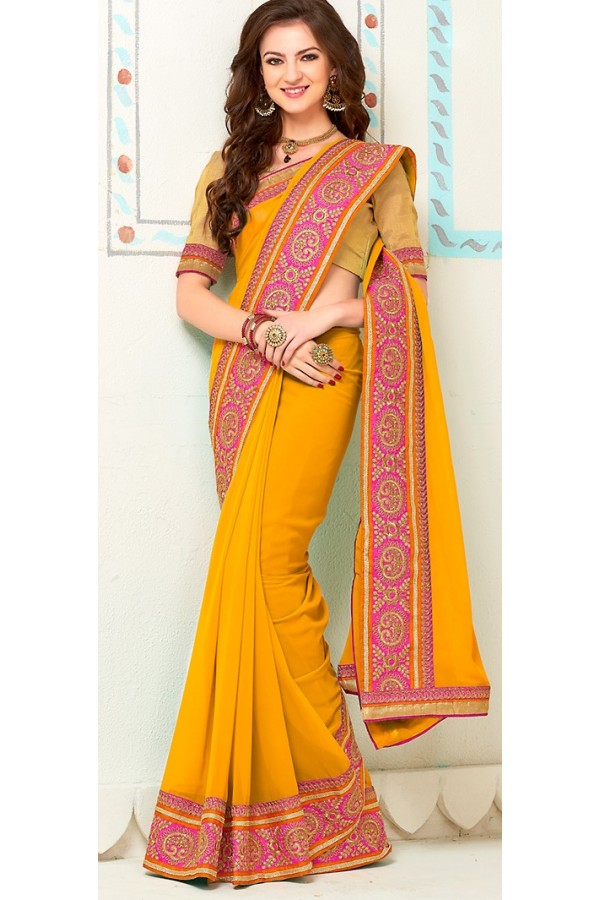 Party Wear Yellow Georgette Saree - 72263