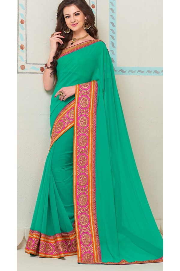 Party Wear Green Georgette Saree - 72264