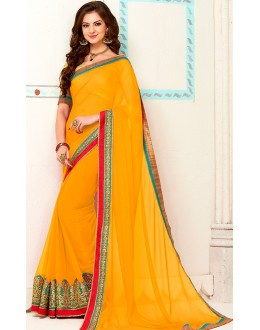 Traditional Yellow Georgette Saree - 72267