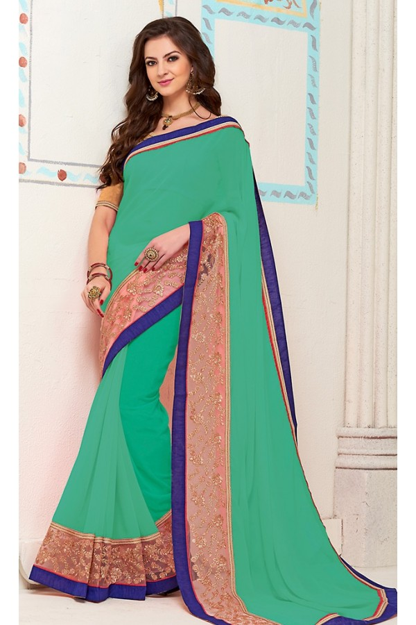 Traditional Green Georgette Saree - 72269