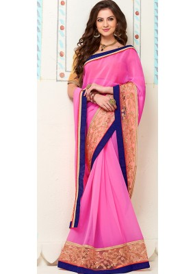 Traditional Pink Georgette Saree - 72270
