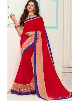 Traditional Red Georgette Saree - 72271