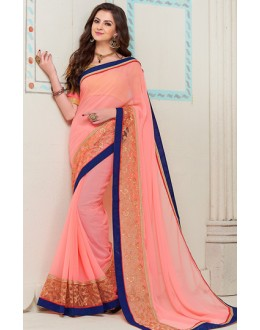 Traditional Pink Georgette Saree - 72272