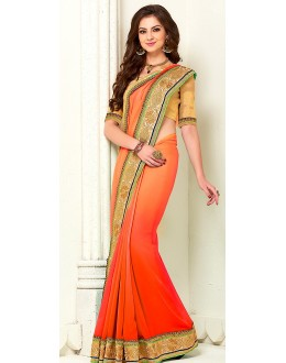 Party Wear Red Georgette Saree - 72275