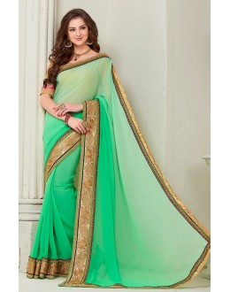 Party Wear Green Georgette Saree - 72276