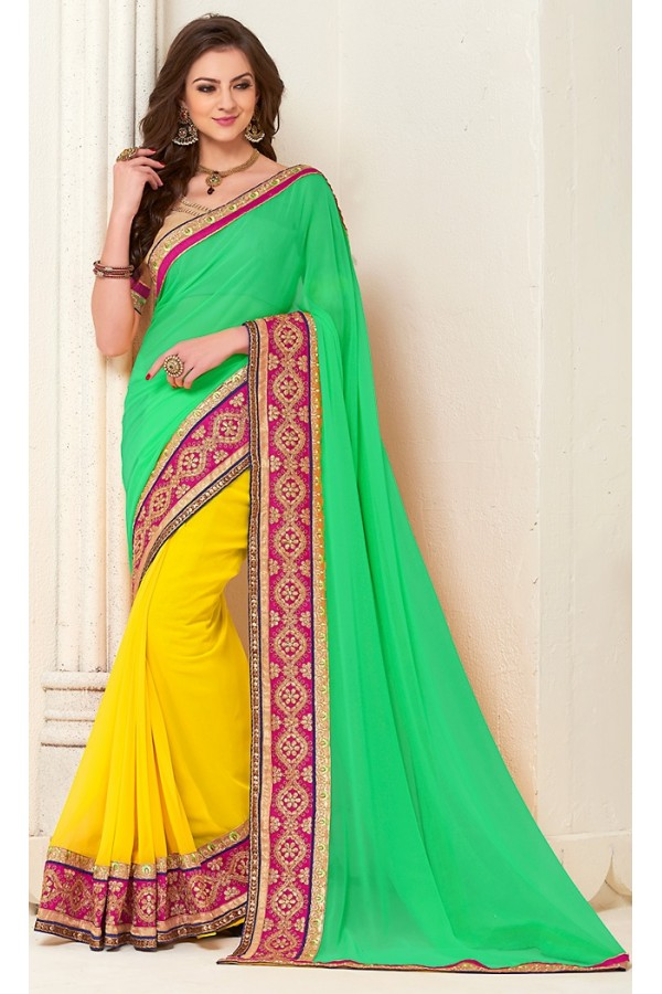 Party Wear Green & Yellow Georgette Saree - 72278