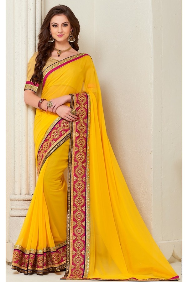 Designer Yellow Georgette Saree - 72280