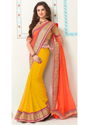 Party Wear Orange & Yellow Georgette Saree - 72284