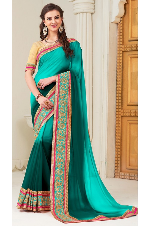 Party Wear Turquoise Georgette Saree - 72286