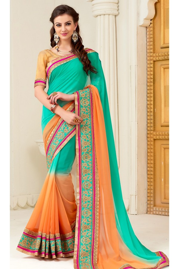 Party Wear Turquoise Georgette Saree - 72288