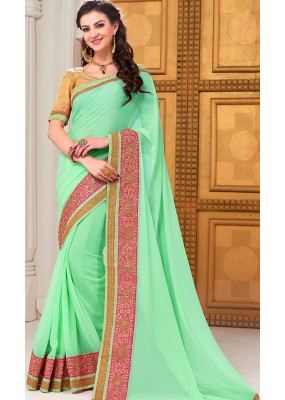 Traditional Green Georgette Saree - 72290
