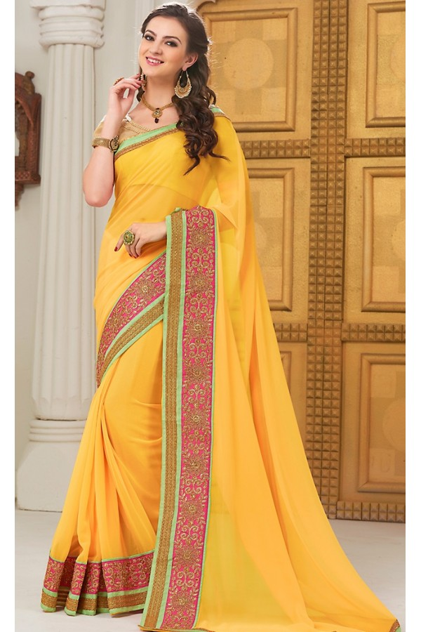 Traditional Yellow Georgette Saree - 72291