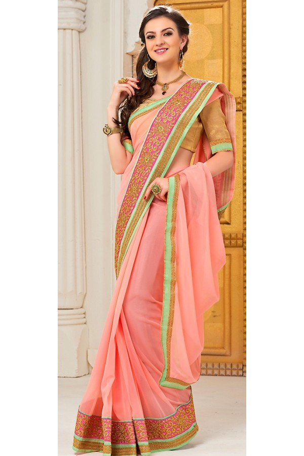 Party Wear Pink Georgette Saree - 72292