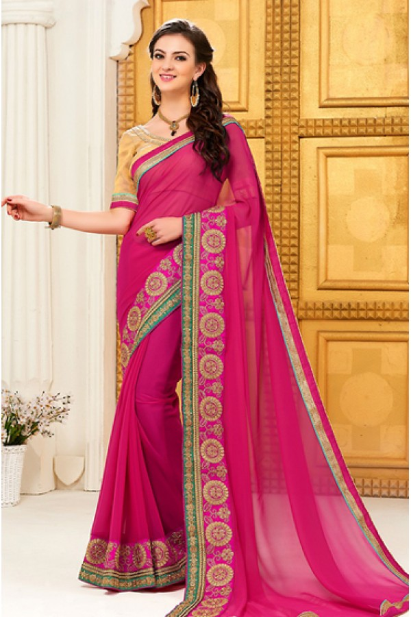 Casual Wear Pink Georgette Saree - 72296