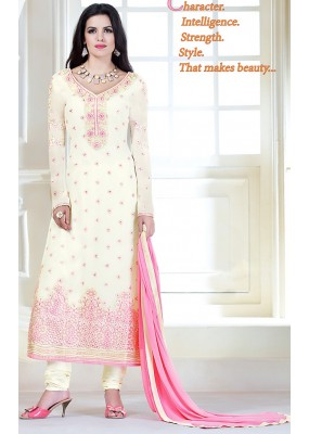 Party Wear Off White Georgette Salwar Kameez - 72305