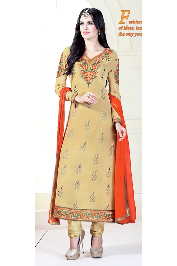 Party Wear Tan Brown Georgette Salwar Kameez - 72307