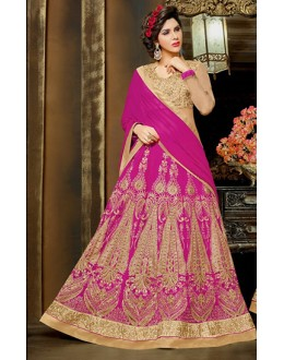 Wedding Wear Pink Net Lehnega Choli - 72324