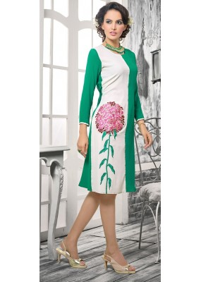 Office Wear Readymade Green & White Georgette Kurti - 72371