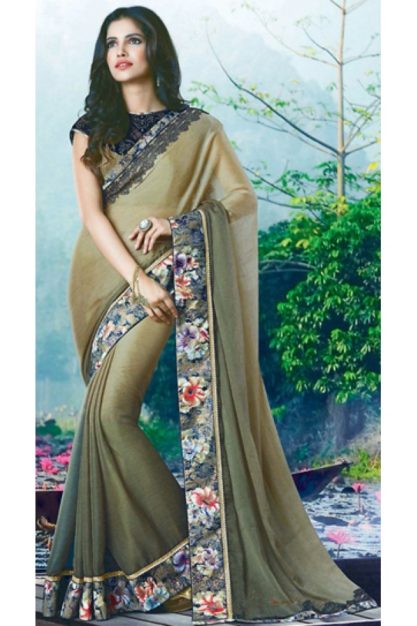 Party Wear Tan Brown Chiffon Saree - 72375