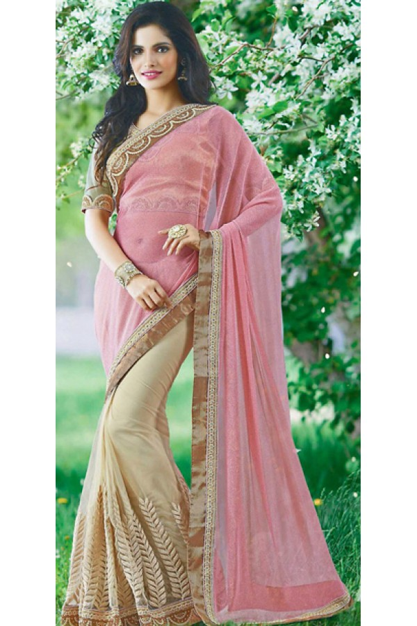 Designer Pink & Tan Brown Lycra Saree - 72380