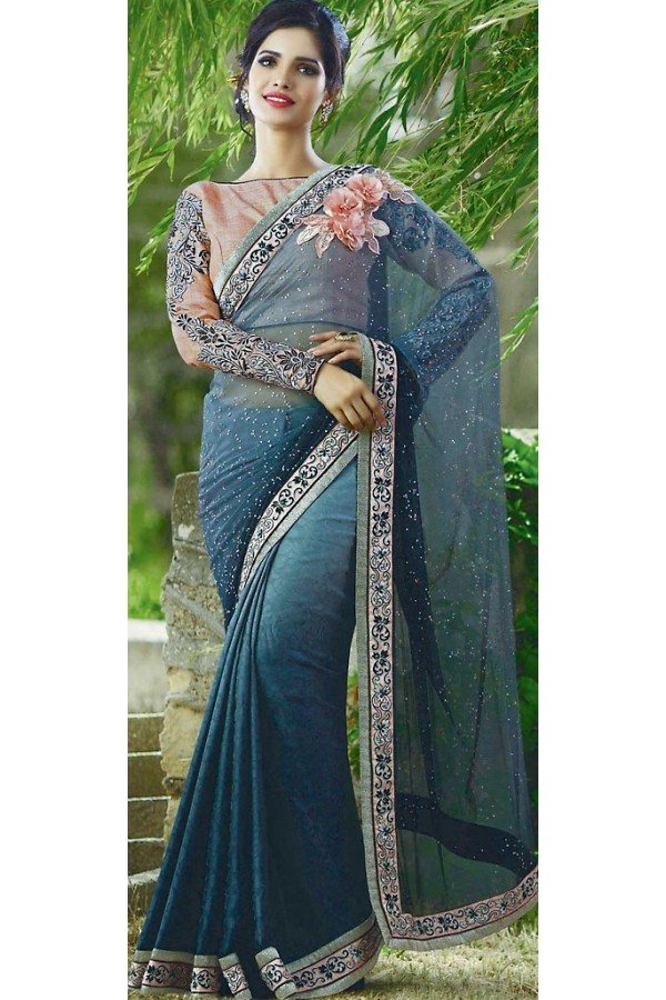 Traditional Steel Blue Jacquard Saree - 72386