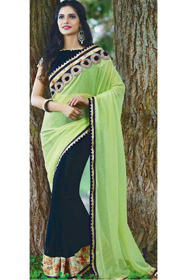 Traditional Green & Navy Blue Lycra Saree - 72387