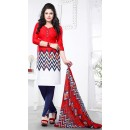 Casual Wear Red & Blue Cotton Salwar Suit - 72428