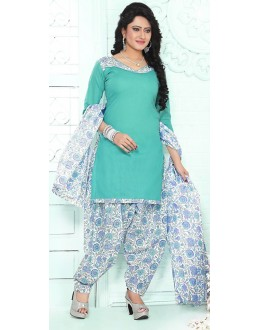 Casual Wear Turquoise & White Cotton Patiala Suit - 72430