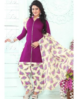 Casual Wear Purple & Off White Cotton Patiala Suit - 72431