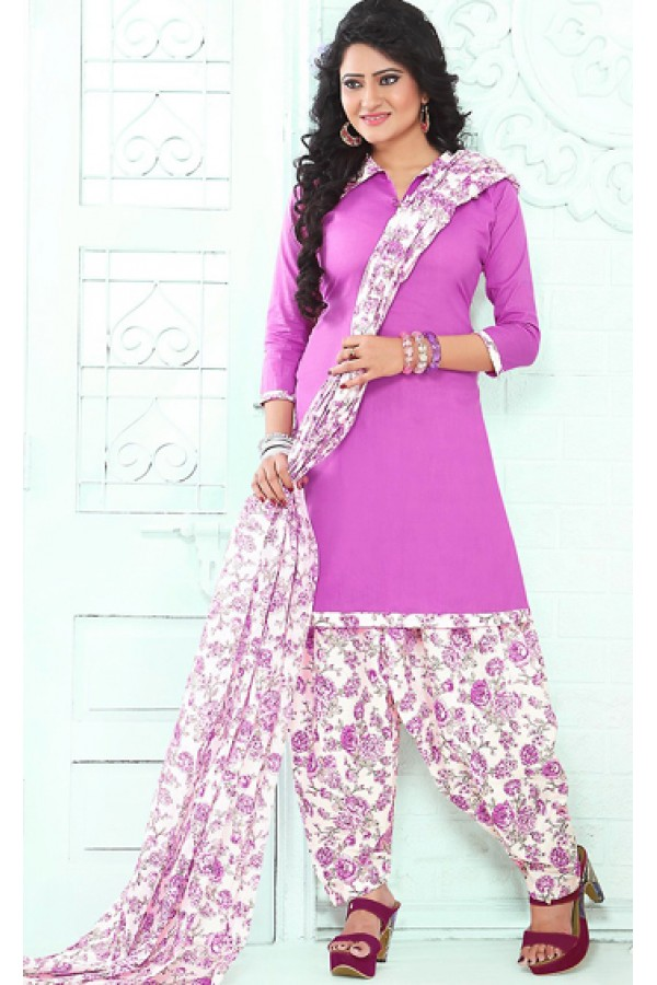Casual Wear Fuchsia & White Cotton Patiala Suit - 72433