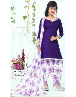 Casual Wear Purple & White Cotton Patiala Suit - 72434