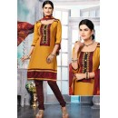 Party Wear Gold & MAroon Cotton Salwar Suit - 72436