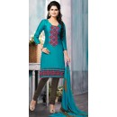 Party Wear Teal Blue & Brown Cotton Salwar Suit - 72439