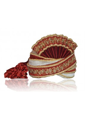 Wedding Wear Maroon Velvet Groom Turban - 72467