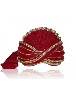 Designer Red Velvet Groom Turban - 72468