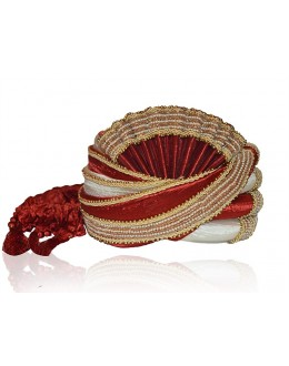 Ethnic Wear Maroon Raw Silk Groom Turban - 72469