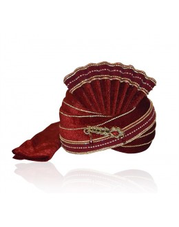 Wedding Wear Maroon Velvet Groom Turban - 72471