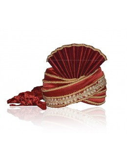 Designer Maroon Raw Silk Groom Turban - 72477