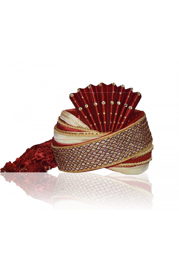 Wedding Wear Maroon Raw Silk Groom Turban - 72478