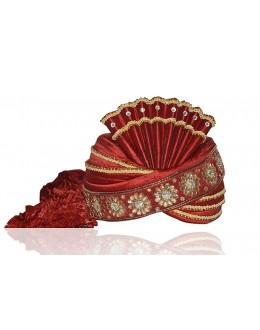 Wedding Wear Maroon Raw Silk Groom Turban - 72479