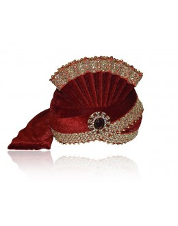 Wedding Wear Maroon Velvet Groom Turban - 72483