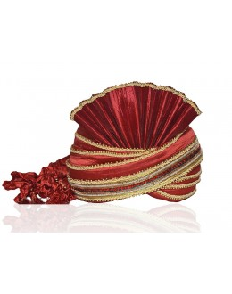 Ethnic Wear Red Raw Silk Groom Turban - 72484