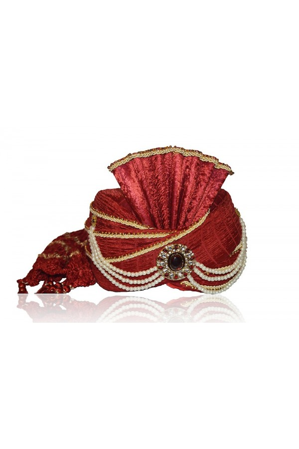 Traditional Red Raw Silk Groom Turban - 72486