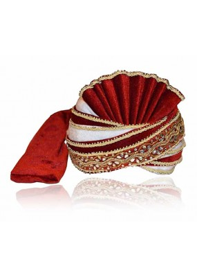 Wedding Wear Maroon Velvet Groom Turban - 72493