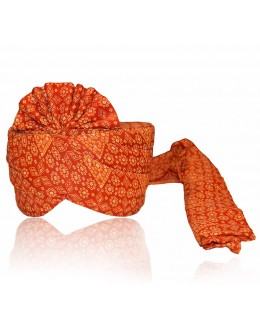 Traditional Orange Georgette Groom Turban - 72495