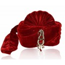 Wedding Wear Maroon Velvet Groom Turban - 72498