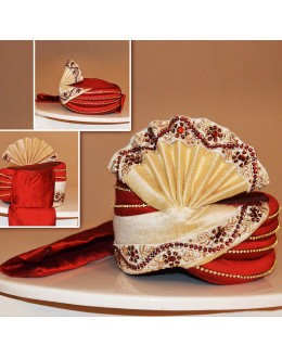 Wedding Wear Red Art Silk Groom Turban - 72509