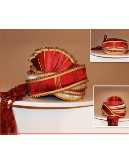 Wedding Wear Red Art Silk Turban Groom - 72515